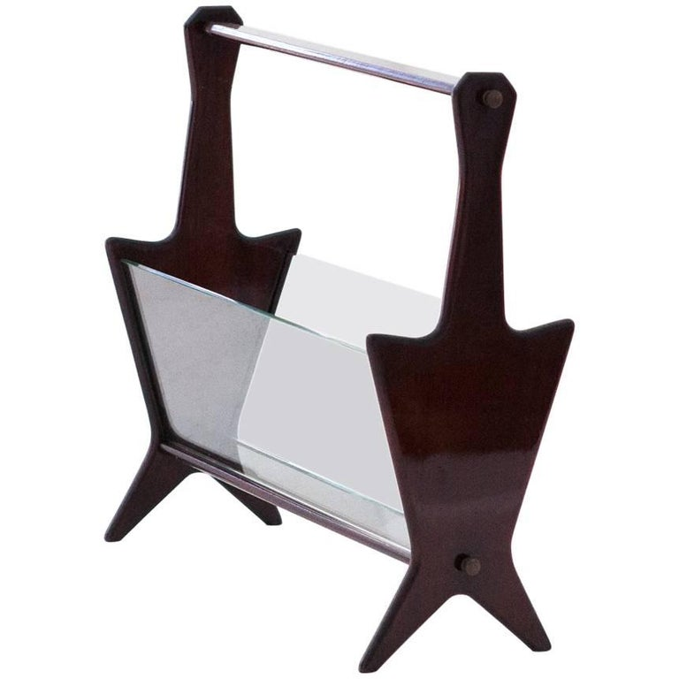 Italian Mid-Century Modern Glass Magazine Holder Attributed to Ico Paris