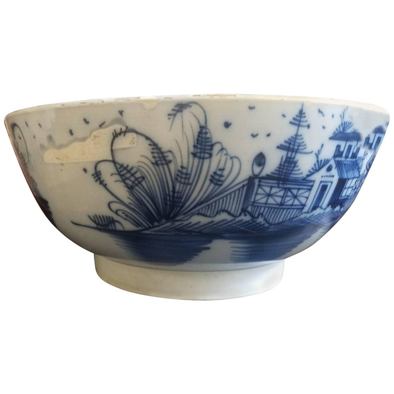 English Blue and White Pearlware Pottery Chinoiserie Bowl, 1790 For Sale