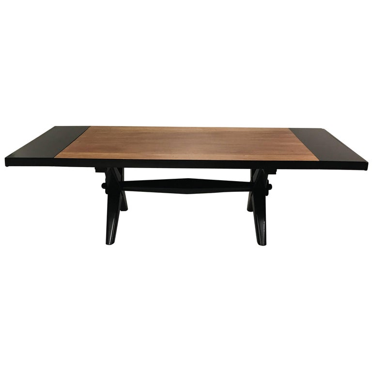 """T.H. Robsjohn-Gibbings Dining Table with Lacquered Leaves and """"X"""" Base"""
