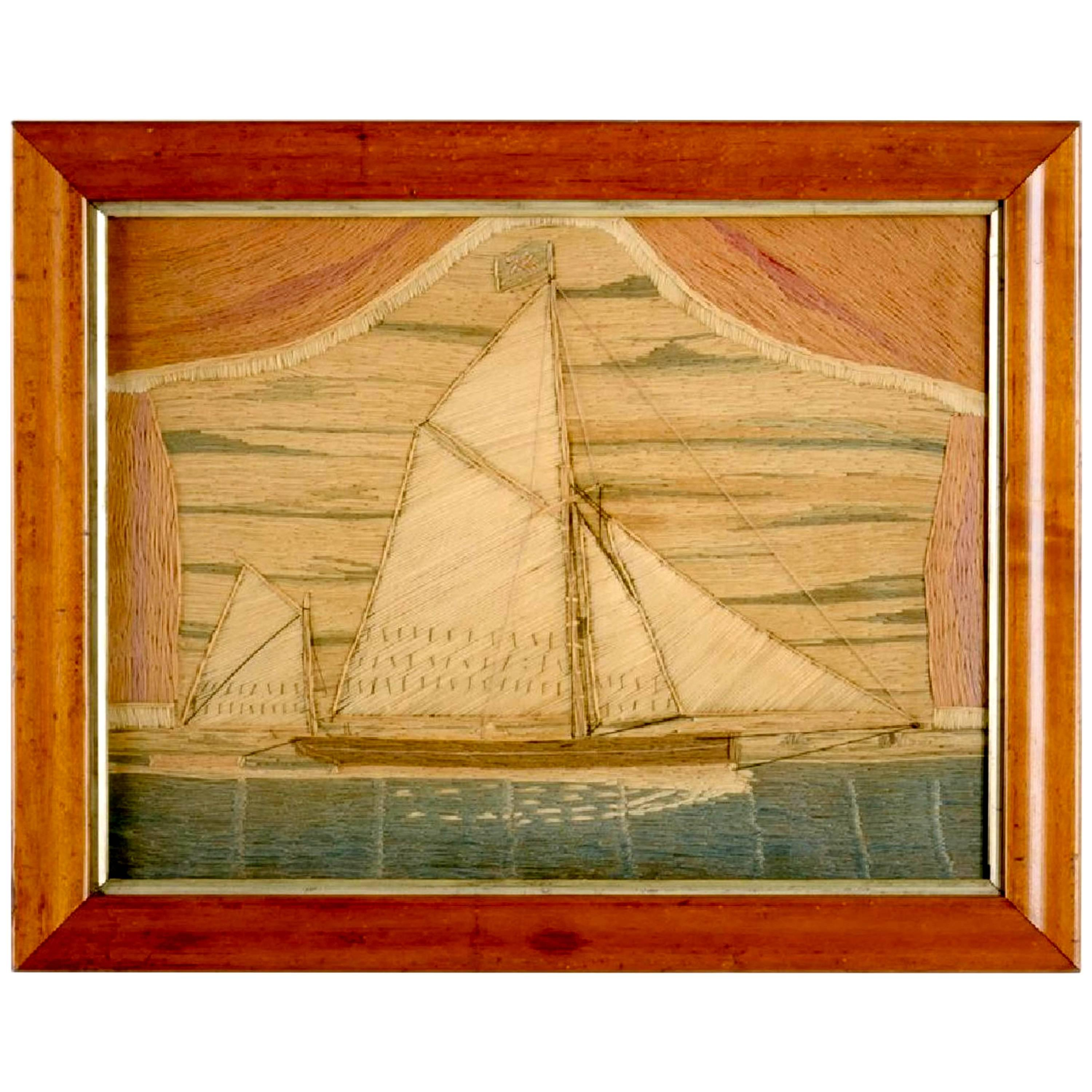 Folk Art Large Silk Picture of a Docked Sailing Ship, circa 1930 For ...