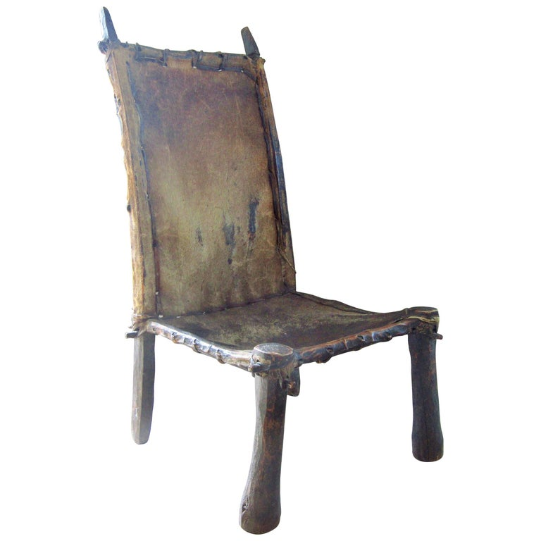 Primitive African Chair Wood and Leather, circa 1900