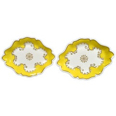 Flight, Barr & Barr Worcester Yellow Oval Porcelain Dishes, circa 1820