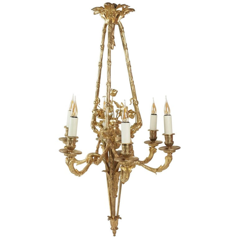 Chandelier Louis XVI Style Gold Gilt on Bronze