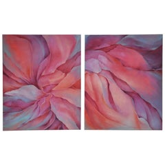 Large Charlotte Segal Acrylic on Canvas Companion Paintings