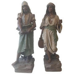Large Pair of 19th Century Terracotta Orientalist Figures