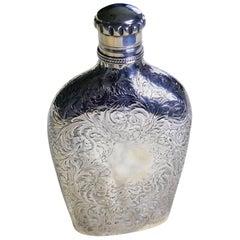 Decoratively Engraved Victorian Silver Spirit Flask, Hilliard & Thomason 1861