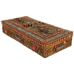 Chinese-Tibetan Filigree Brass Box with Turquoise and Coral