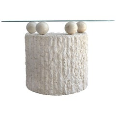 Sculptural Postmodern Maitland Smith Tessellated Stone Demilune Console Table