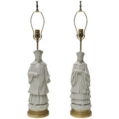 Pair of Porcelain Asian Figural Table Lamps