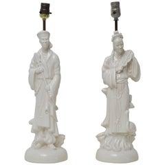 Pair of Blanc de Chin Porcelain Table Lamps