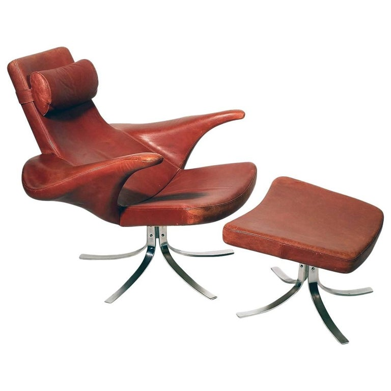 "Rare ""Seagull"" Chair and Ottoman by Berg & Eriksson"