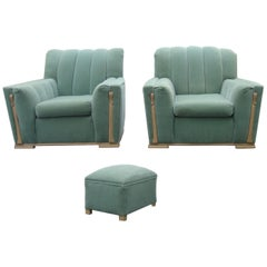Pair or Art Deco Streamline Club Wood Trim Lounge Chairs and Ottoman