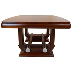 Fabulous Gaston Poisson Art Deco Dining Room Table in Mahogany, 1930