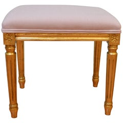 Louis XVI Style Small Bench for Custom Order, Gilded, Upholstered in Lilac Linen