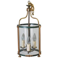 Brass Hanging Hall Lantern in Louis XVI Style