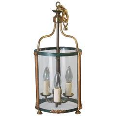 Brass Hanging Hall Lantern in Louis XVI Style