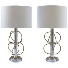 Two-Tone Italian Modernist Table Lamps by Gaetano Sciolari, Pair