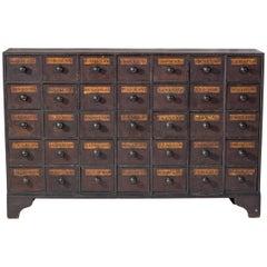 Antique Mahogany Apothecary Cabinet / Bank of Drawers, circa 1875