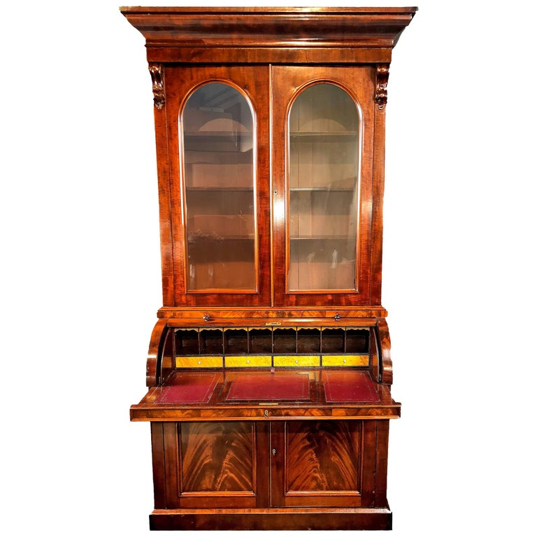 Bureau Bookcase Mid-Size 19th Century Cylinder Top Figured Mahogany Secretaire
