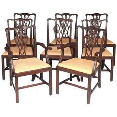 Set of Eight Carved Mahogany Chippendale Style Dining Chairs