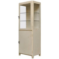 Vintage German Medical Cabinet in Wood and Glass, 1930s