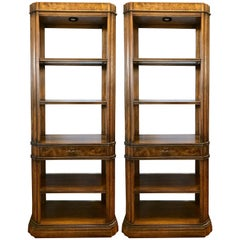 Neoclassical Style Fruitwood Lighted Display Etageres Bookcases