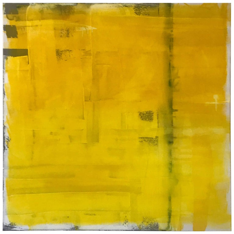 """Contemporary Vibrant Abstract Painting Titled """"Yellow"""" by Rebecca Ruoff, 2018"""
