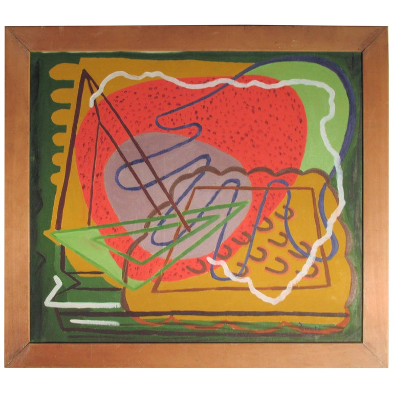 1940s American Modernist Abstract Painting by Zoute'