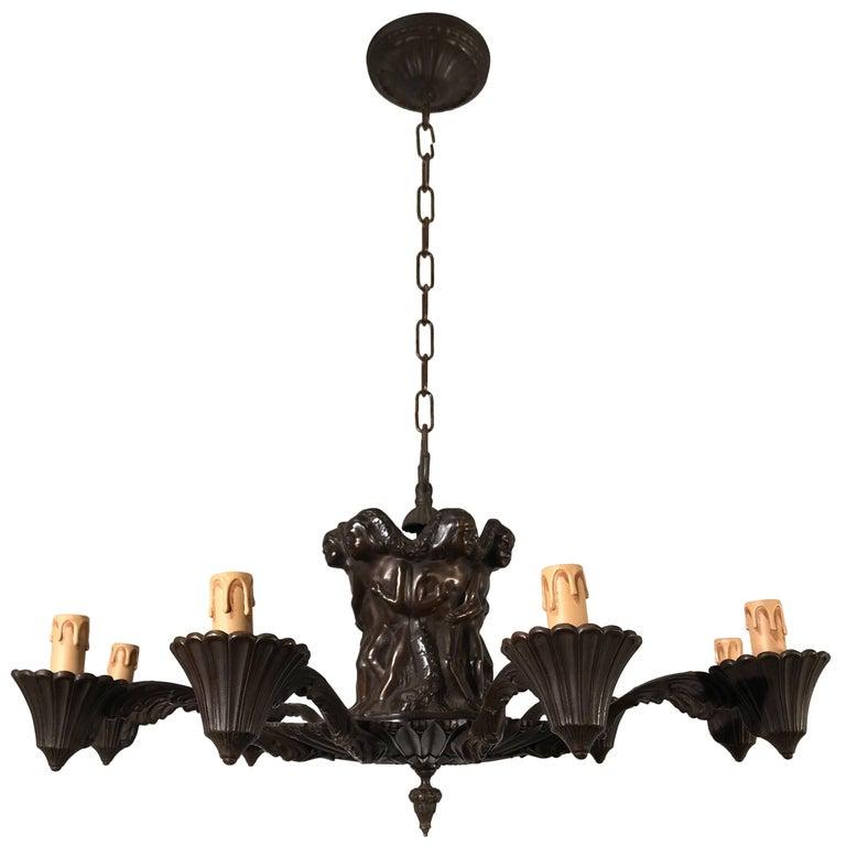 Striking Sculpure Fine Bronze Art Deco Nine-Light Pendant or Chandelier Light