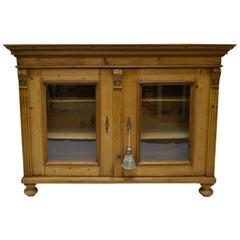 Pine Low Glazed Bookcase or Side Cupboard