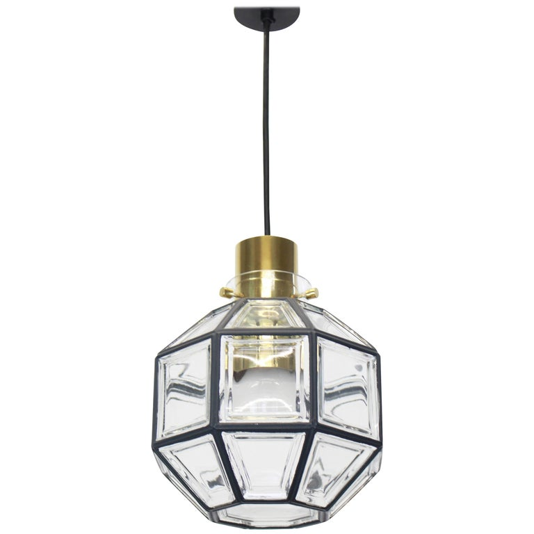1 of 2 Iron and Clear Glass Pendant Lights by Limburg, Germany, 1960s For Sale