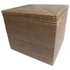 CLOSE OUT SALE: Vintage Rattan Square Lidded Side Table