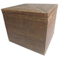 Vintage Rattan Square Lidded Side Tables 2