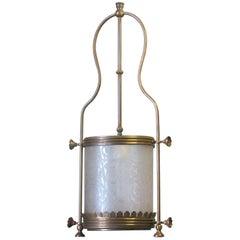 Brass Hanging Hall Lantern, Circa 1910