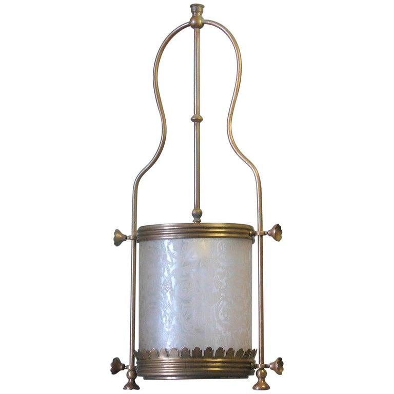 Brass Hanging Hall Lantern, Circa 1910 For Sale
