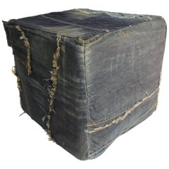 CLOSE OUT SALE: Vintage Indigo and Pre-Washed Distressed Denim Patchwork Ottoman