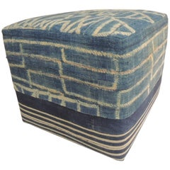 African Blue and Natural Vintage Ndop Textile Upholstered Square Ottoman