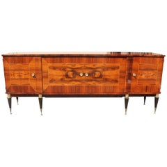 Long French Art Deco Macassar Exotic Sideboard / Credenza / Buffet, circa 1940s