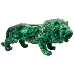 Very Large Solid Hand-Carved Malachite Lion from the Congo
