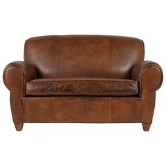 French Art Deco-Style Leather Loveseat