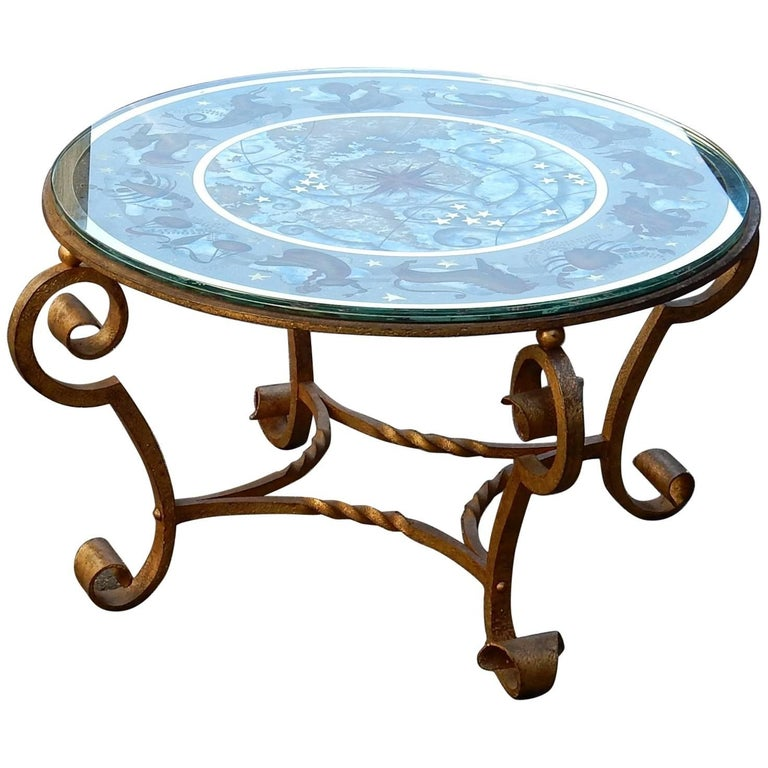 1940-1950 Coffee Table Has Decoration of Zodiac in the Style of Poillerat