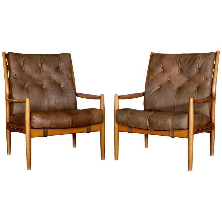 Pair Of Läckö Easy Chairs By Ingemar Thillmark 1960s For Sale At