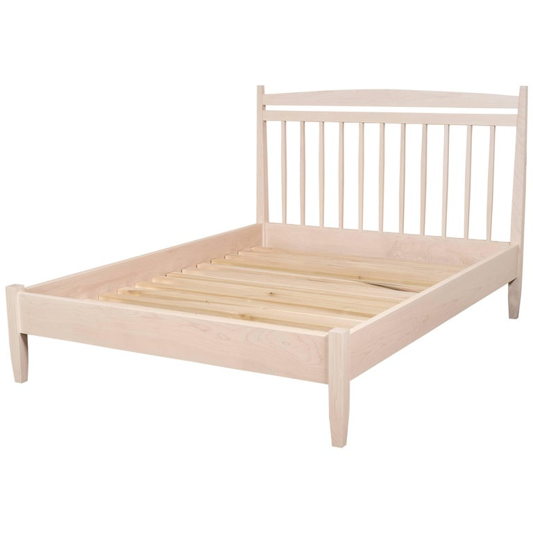 Hill Bed by Tretiak Works, Contemporary Handmade White Maple Queen Bed For Sale