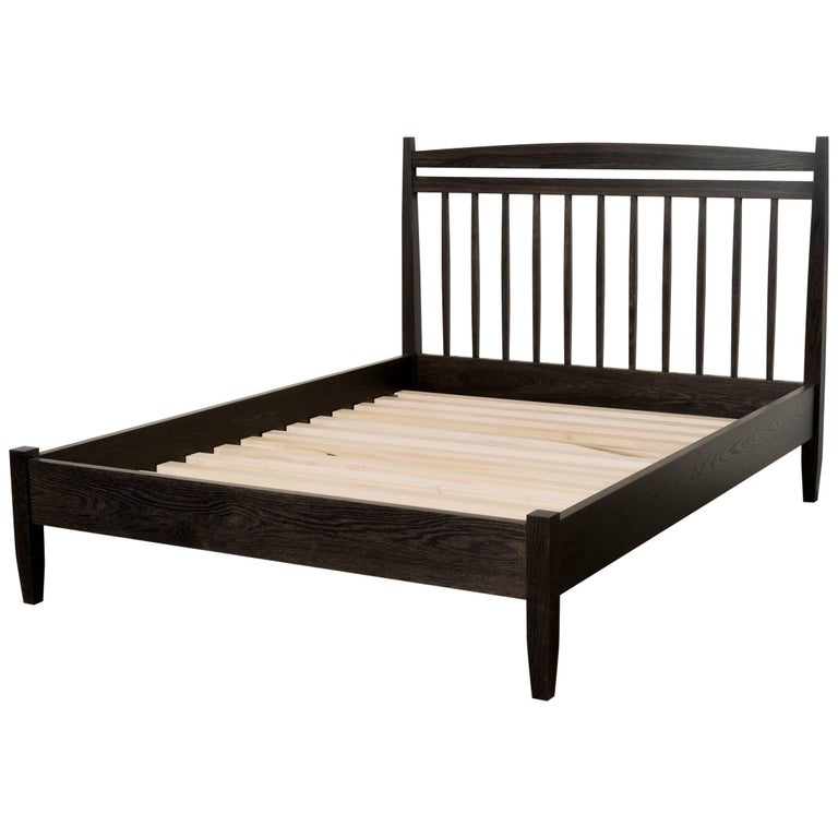 Hill Bed by Tretiak Works, Contemporary Handmade Oxidized Oak Queen Bed For Sale