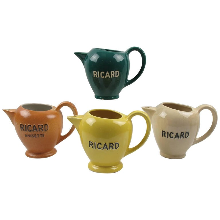 French Ricard Midcentury Cafe Barware Water Pitcher or Jug, set of 4