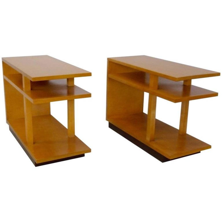 Eliel Saarinen for Johnson Furniture Architecturally Structured Side Tables For Sale