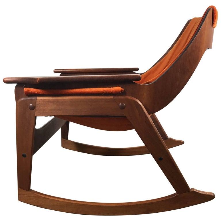 Rare Jerry Johnson Midcentury Walnut Sling Rocking Chair, 1960s