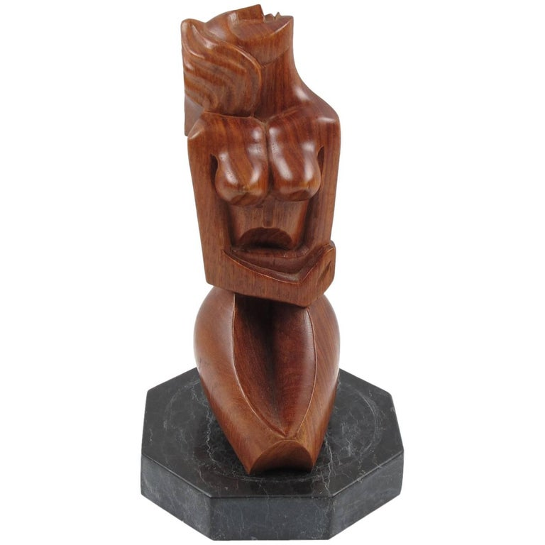 Mid-Century Modern Cubist Hand-Carved Mahogany Sculpture Crouched Woman