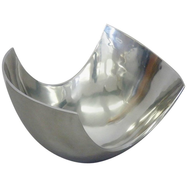 Large Michael Lax Polished Aluminum Bowl For Sale