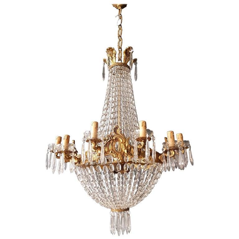 Empire Leuchter Kristall Sac eine Perle Lampe Glanz Jugendstil 1